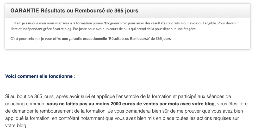 Garantie Résultat Olivier Roland